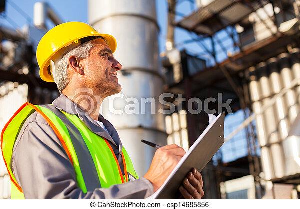 pétrole, âge, ouvrier, mi, usine - csp14685856