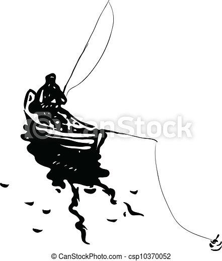 Illustration Rods Vecteur Pecheur Bateau Peche