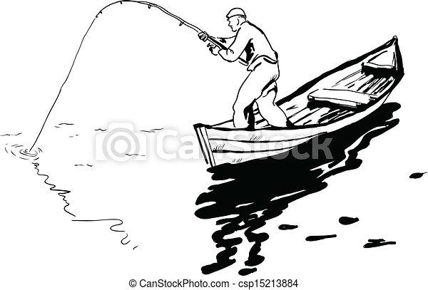 Reel illustration rotation vecteur p cheur bateau - Dessin pecheur ...