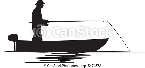 pêcheur, silhouette, bateau - csp15474572