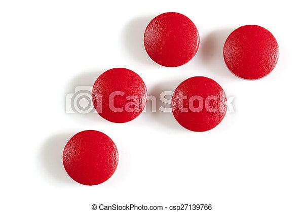 Pastillas de suplemento de hierro rojo aisladas - csp27139766