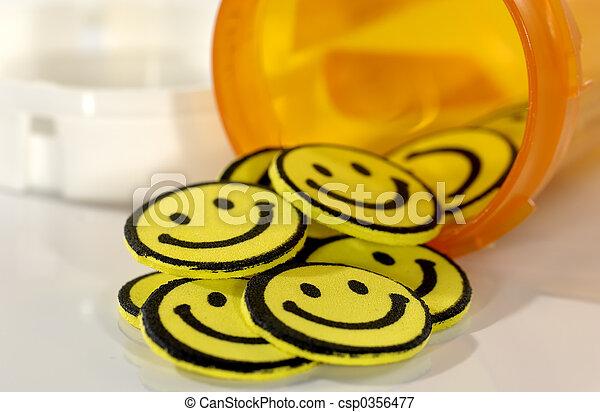 pílulas, feliz - csp0356477