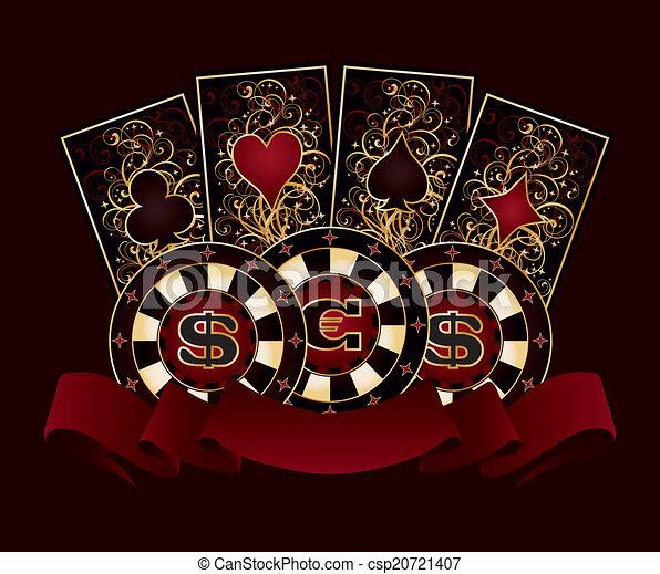 Pancarta de casino con tarjetas de póker - csp20721407