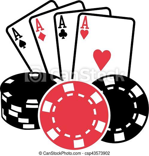 Cuatro ases jugando a las cartas con monedas de póker - csp43573902