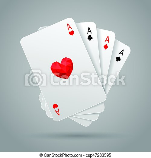 Cuatro ases jugando a las cartas. Mano de póker - csp47283595