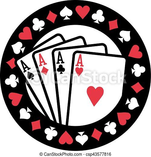 Un emblema de póker con cuatro ases jugando a las cartas - csp43577816