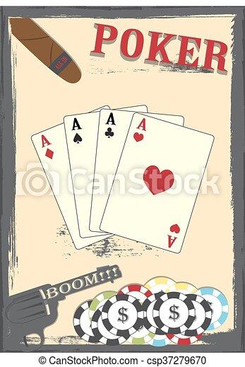 Viejas tarjetas de posters de Texas, chips y Colt - csp37279670