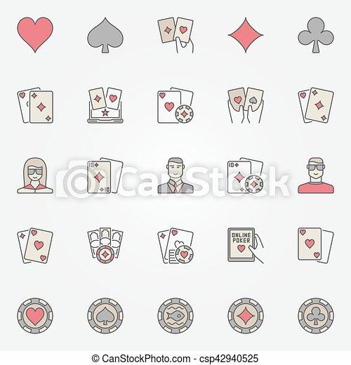 Texas Holdem iconos de póker - csp42940525