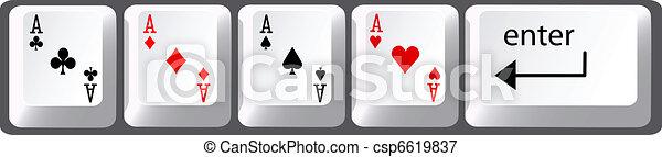Cuatro ases de póquer llaves del teclado - csp6619837