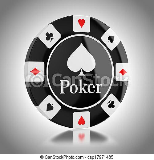 Un chip de póker negro - csp17971485