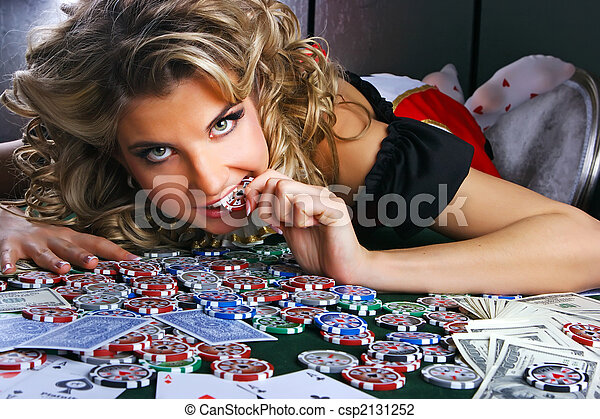 Poker y chica - csp2131252