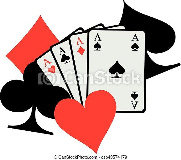 Cuatro ases jugando a las cartas con grandes íconos de poker abre corazones de diamantes - csp43574179