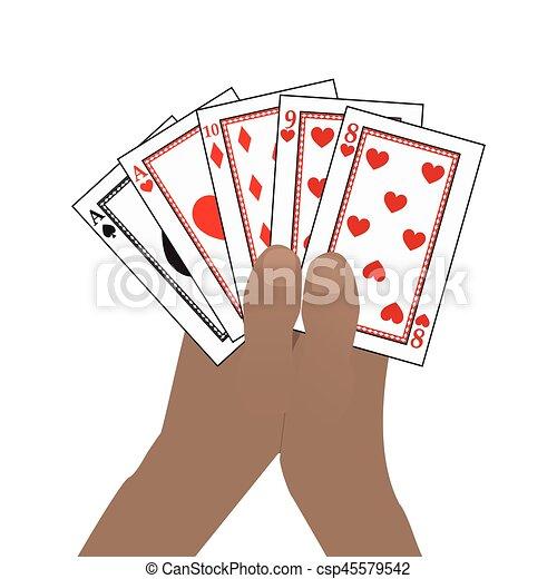 Las manos en alto. En un fondo blanco - csp45579542