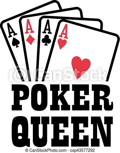 Reina del póker con cuatro ases jugando a las cartas - csp43577292