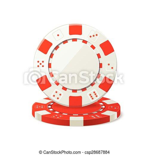 Vector apostando fichas de póker rojas y blancas - csp28687884