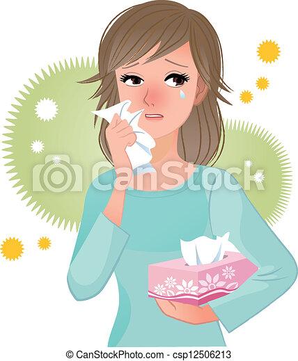 pólen, sofrimento, mulher, allergi - csp12506213