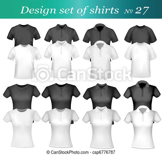 pólo, branca, homens, pretas, camisas - csp6776787