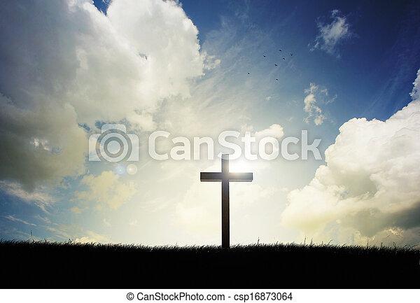 pôr do sol, crucifixos - csp16873064