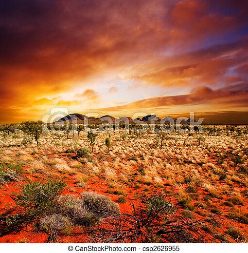 pôr do sol, deserto, beleza - csp2626955