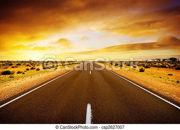 pôr do sol, estrada - csp2627007