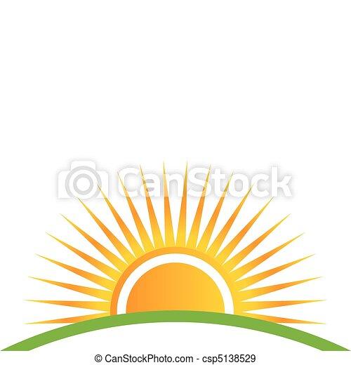 pôr do sol, horizonte - csp5138529