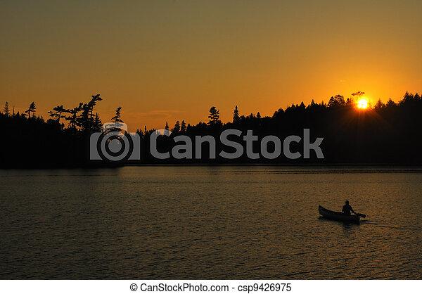 pôr do sol, remoto, canoagem, selva, lago - csp9426975