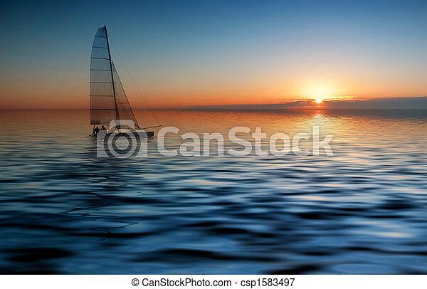 pôr do sol, velejando - csp1583497