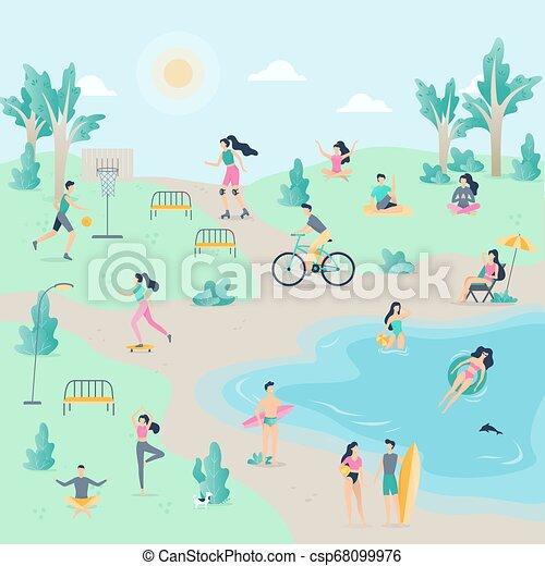 Gente en el parque público. Pasear a un perro - csp68099976