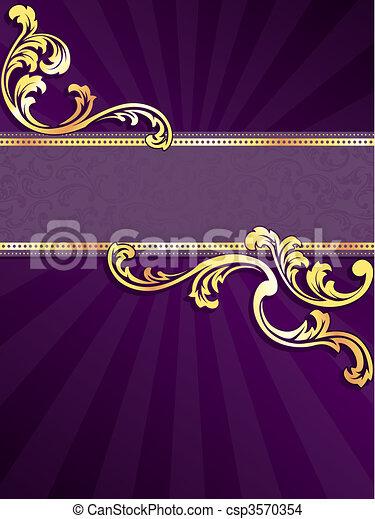 Pancarta púrpura y dorada vertical - csp3570354
