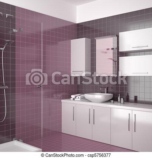 Púrpura, cuarto de baño, moderno. Cuarto de baño, furniture ...