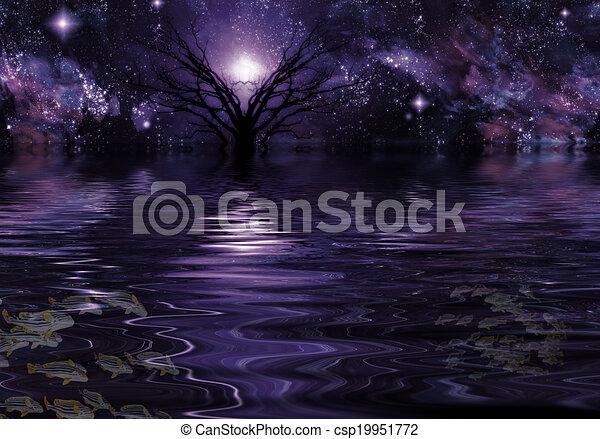Un paisaje de fantasía púrpura profundo - csp19951772