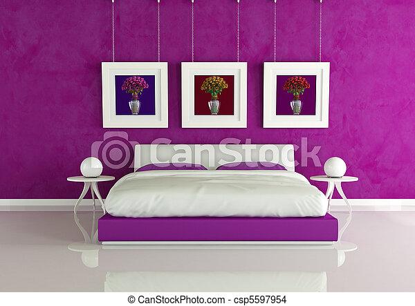 El dormitorio moderno púrpura - csp5597954