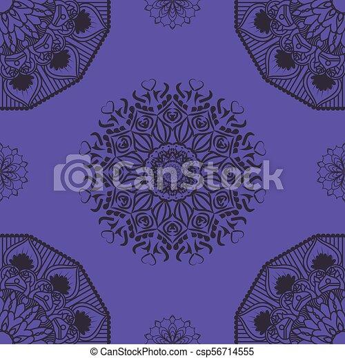 Patrón mandala sin daños en el fondo púrpura - csp56714555