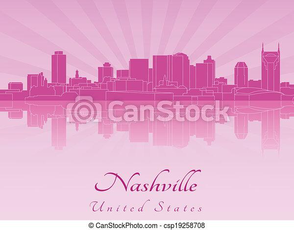 El horizonte de Nashville en orquídea radiante púrpura - csp19258708