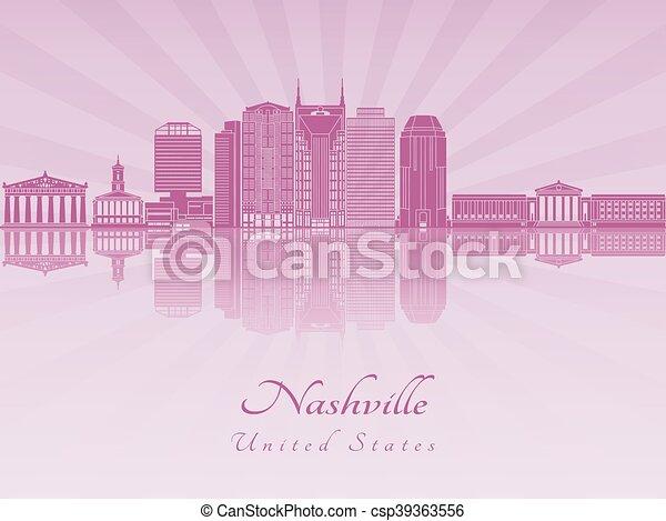 El horizonte de Nashville en orquídea radiante púrpura - csp39363556