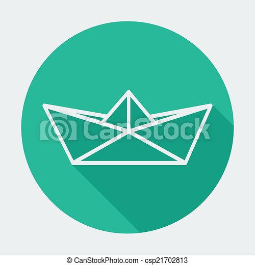 płaski, długi, jednorazowy, papier, shadow., łódka, ikona - csp21702813