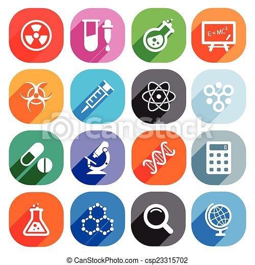 płaski, elementy, nauka, icons., wektor, modny - csp23315702