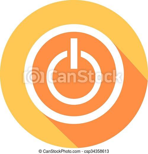 płaski, guzik, moc, ikona - csp34358613