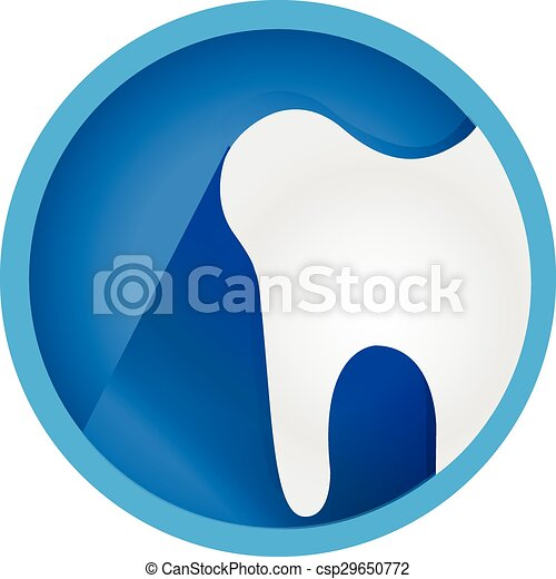 płaski, guzik, ząb, wektor, logo, ikona - csp29650772