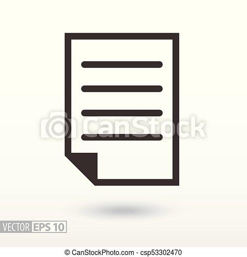 płaski, icon., dokument, rząd, znak - csp53302470
