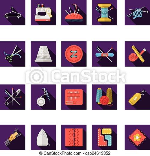 płaski, ikony, kolor, szycie, zbiór, wektor - csp24613352
