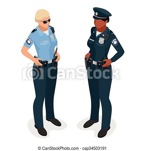 płaski, kobieta, illustration., realistick, odizolowany, wektor, oficer, isometriv, 3d, policjantka, uniform., white. - csp34503191