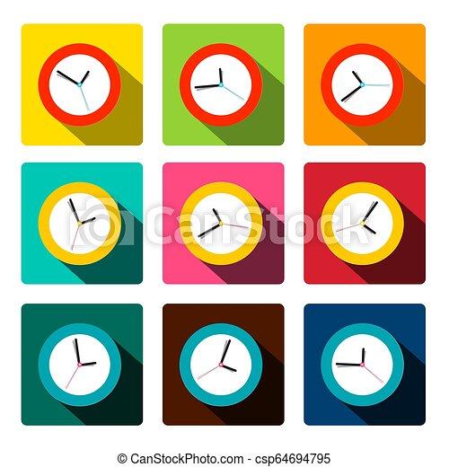płaski, komplet, barwny, zegar, ikony, wektor - csp64694795