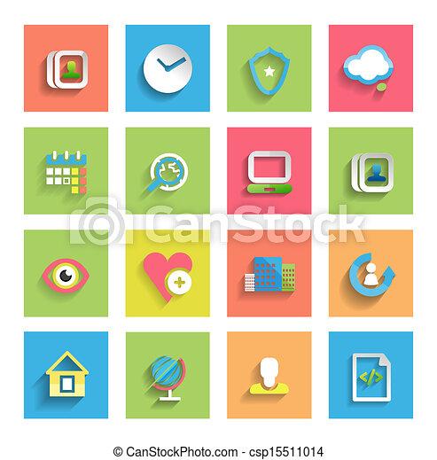 płaski, komplet, ikony, uniwersalny, :, ikona - csp15511014