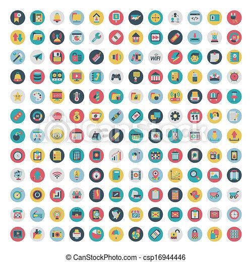 płaski, komplet, sieć, media, icons., wektor, towarzyski, ikona - csp16944446