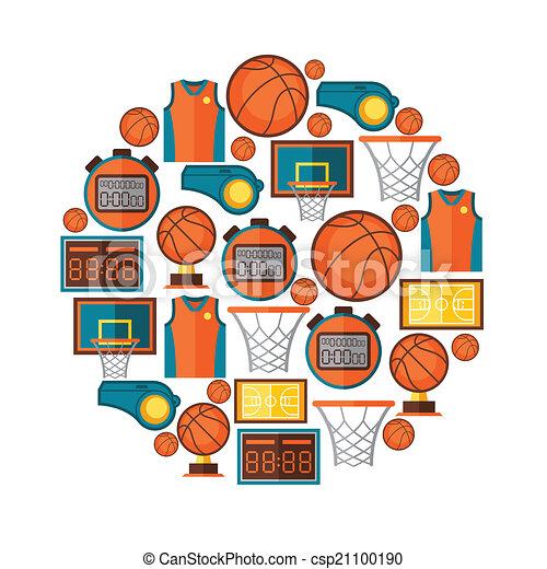 płaski, koszykówka, ikony, lekkoatletyka, tło, style. - csp21100190