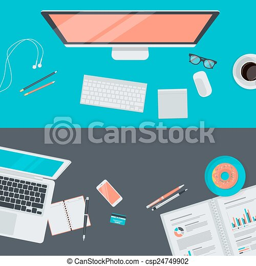 płaski, pojęcia, workspace, projektować - csp24749902