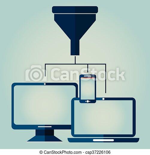 płaski, pojęcie, filtr, tunel, cielna, pojęcia, ilustracja, twórczy, projektować, analiza, proces, dane - csp37226106