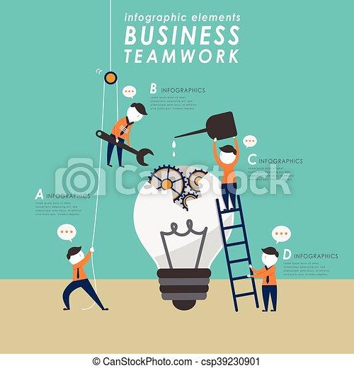 płaski, pojęcie, projektować, teamwork - csp39230901