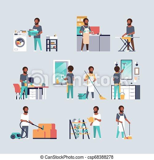płaski, różny, komplet, mężczyźni, housecleaning, prace domowe, zbiór, pojęcia, amerykanka, pełny, litery, afrykanin, długość, samiec, rysunek - csp68388278